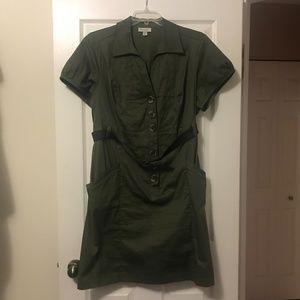 Dress Barn Women's Belted Green Casual Dress (22)